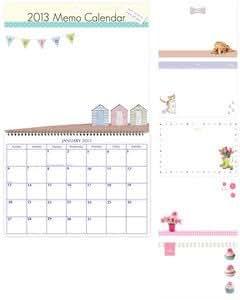 2013 photo designs memo calendar - wipe on/wipe off board - for home/kitchen