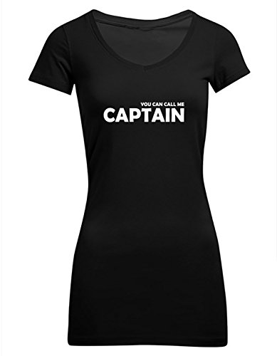 You can call me Captain, Frauen Extra Lang T-Shirt, Größe S, schwarz