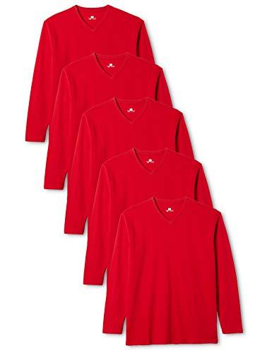 Medium Long Sleeve Top (Lower East Herren Langarmshirt mit V-Ausschnitt, 5er Pack, Gr. Medium, Rot)