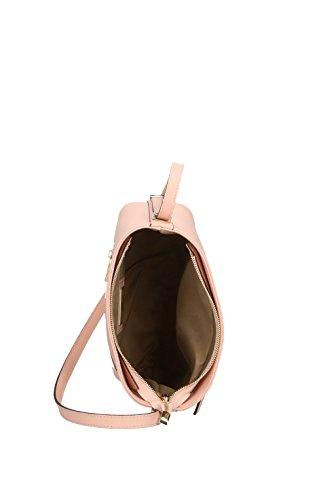 Elegante Schultertasche aus echtem Leder, Hergestellt in Italien, 28x24x13cm Rosa