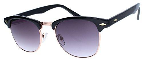 50er Jahre Retro Sonnenbrille Halbrahmen Clubmaster Style schwarz gold Rockabilly