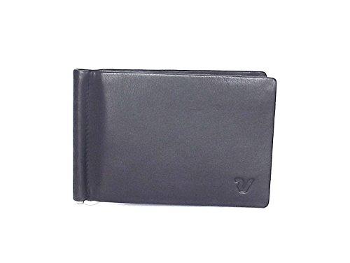 Roncato portafoglio uomo, Prima 411906-01, fermasoldi con molla in pelle, colore nero