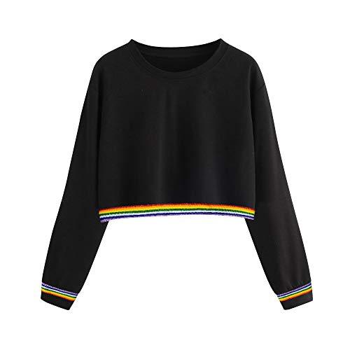 Damen Kapuzenpullover Lange Ärmel Hoodie Pullover Ronamick Frauen Pullover einfarbig zurück Band Band Rainbow Langarm Sweatshirt(XL, Schwarz) Band Crewneck Sweatshirt