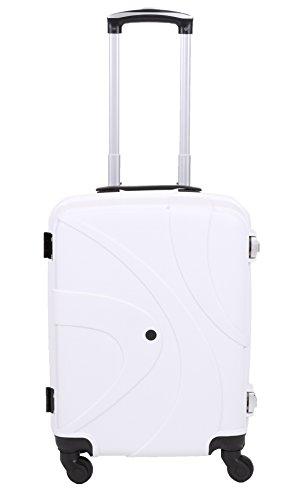 Handgepäcktrolley ZÜRICH Hartschalen Koffer Telescop Trolley Boardcase mit TSA Zahlen-Schloss und 4 Leichtlaufrollen verschiedene Farben Farbe orange weiß