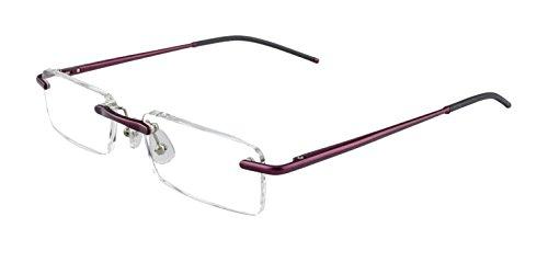 Edison & King Lesebrille Free randlose Brille aus Aluminium mit Federscharnieren - extra leicht (ohne Entspiegelung, Rotlila, 1,50 dpt)