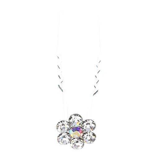 SODIAL(R) Fleur cristaux clairs mariee Barrettes de cheveux (Paquet de 6)