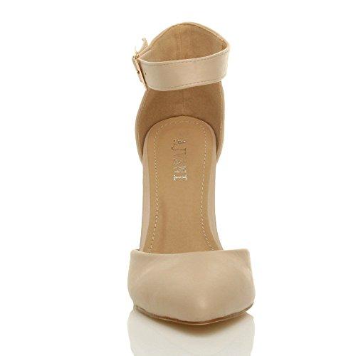 Femmes haute large talon boucle lanière pointu escarpins chaussures pointure Mat beige