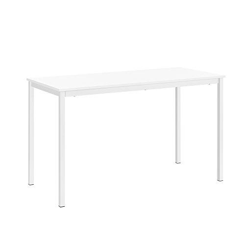 [en.casa]® Mesa de Comedor de Diseño Elegante, Estructura Estable - Blanco