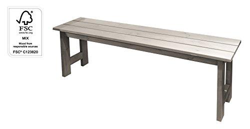Gartenbank Holzbank Sitzbank Bank 140 cm ohne Lehne FSC Holz grau