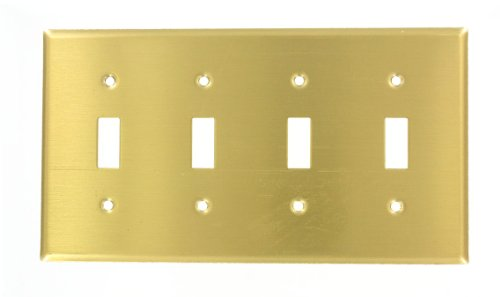 leviton-81012-4-gang-toggle-device-switch-wallplate-standard-size-device-mount-brass-by-leviton
