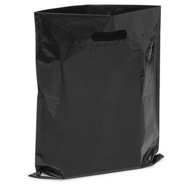 New-Extra dicke 1,5mil-50glänzend Merchandise Taschen, Retail Einkaufstaschen, 30,5x 38,1cm mit Die Cut verstärkte 7,6cm Fold Over Griff, kein Zwickel schwarz