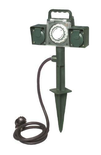 uniTEC 44206 Erdspiess mit Doppelsteckdose und mechanisch Zeitschaltuhr