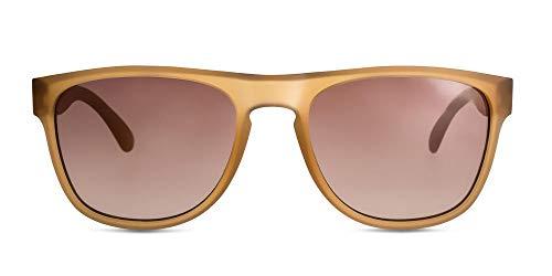 MessyWeekend Makalu - Rechteckige,Dänische Designer Sonnenbrillen mit UV400 Schutz - Braun