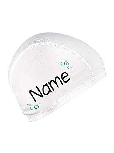 Striefchen® Badekappe für Kinder mit Namen und schönen Motiv Weiß Blubberblasen