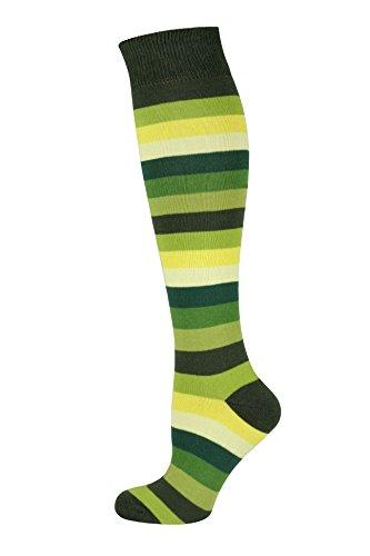 MySocks Unisex Kniehohe lange Socken Streifen Grün Multi - Grüne Dicke Streifen