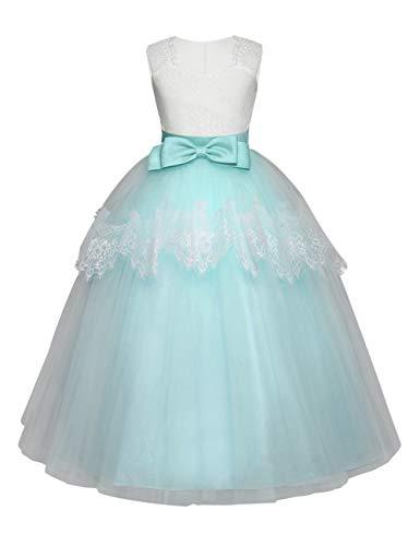 besbomig Mädchen Spitze Bowknot Ärmellos Prinzessin Kleider Partei Prom Ballkleid - Formale Hochzeit Festzug Blumenmädchenkleid Abendkleid - Mädchen-partei