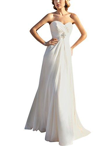 JAEDEN Donna Senza spalline Chiffon Vestito da sposa Lungo Formale Abiti da sposa Strascico Avorio