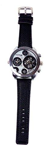 Banger Dualtime Schwarz Silver Silber Chronograph for Men Double Temps Zwei Zonen Navigator Herrenuhr XL Atlas Modell mit 2 Uhrwerken Weltzeituhr Schwarz Silber mit Lederarmband...