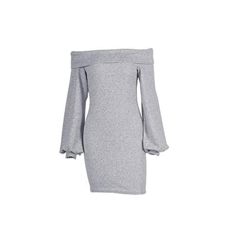 QingJiu Art Und Weisefrauen Laternehülse EIN Schulter Halfter Dünnes Abendkleid Party Reizvolles Kleid