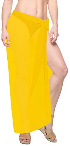 LA LEELA Schiere Chiffon Normalpackung Schwimmen Strand Pareo Sarong vertuschen gelb -