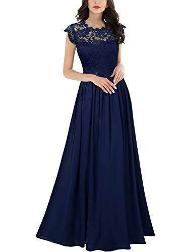 Miusol Damen Elegant Ärmellos Rundhals Vintage Spitzenkleid Hochzeit Chiffon Faltenrock Langes Kleid Navy Blau Gr.2XL