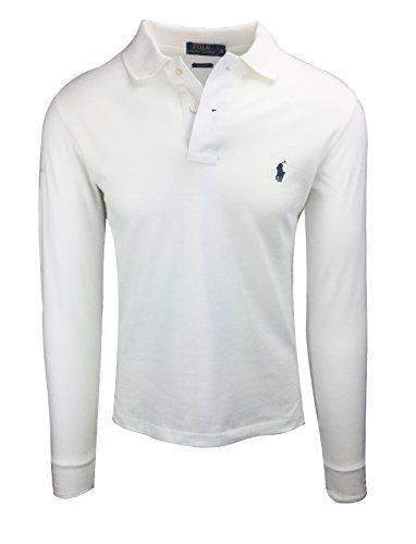 Ralph Lauren Polo Herren Poloshirt Langarm Small Pony Custom Fit Verschiedene Farben Outletware, Größe:XL, Farbe:Weiß (Polo-pony-shirt)