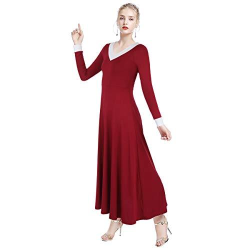 OBEEII Damen Liturgisch Tanzkleid Elastisch Maxi Kleider Frauen Elegant Kirche Worship Tanzkleidung Ballett Jazz Lateinischer Tanz Kirche Chor Beten Gebet Kostüm Rot ()