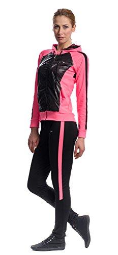 Mobina Damen Sportanzug mit Kapuze Schwarz/Pink