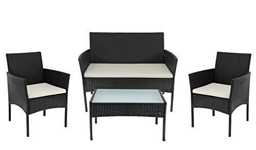 Beneffito Conjunto Muebles de jardín Tulum en Resina Trenzada - Ratán - Negro - 4 plazas, 2 sillones...