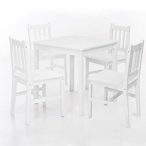 FineBuy Esszimmer-Set Emilio 5 teilig Kiefer-Holz Weiß Landhaus-Stil 70 x 73 x 70 cm | Natur Essgruppe 1 Tisch 4 Stühle | Tischgruppe Esstischset 4 Personen | Esszimmergarnitur massiv
