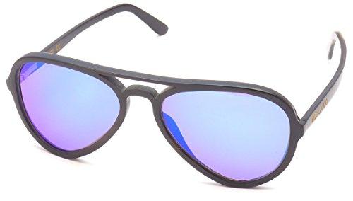 WOO LANDO - Buffalo Pilot NEO - Unisex Büffelhorn-Sonnenbrille, blau verspiegelter Mirror & polarisiert, UV400 & polarisiert, UV400