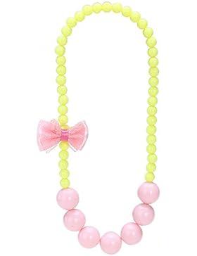 Tinksky Kinder Kette kurze Perlenkette für Mädchen mit Schmetterling Kinder Schmuck (Rosa und Gelb)