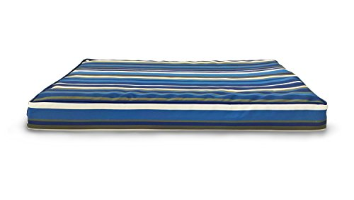 Furhaven Orthopedic Mattress Pet Bed, Medium, Blue Stripe, for Dogs and Cats