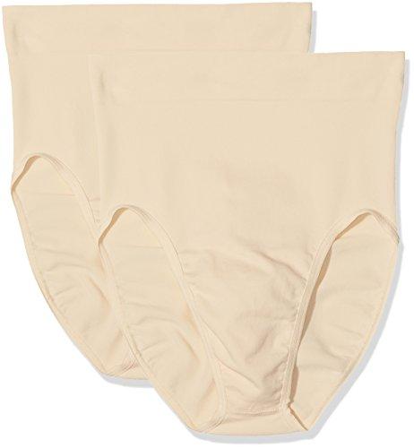 belly cloud Damen Miederslip Bauchkontroll Slip Sheer Control, Figurformend, Seamless 2er Pack Beige (Haut 929)