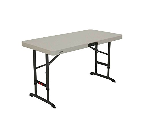 Lifetime höhenverstellbarer Kunststoff Klapptisch, Campingtisch, Falttisch, Flohmarkttisch 5er Set // 122x61x55-92 cm // Koffertisch und faltbarer Tisch