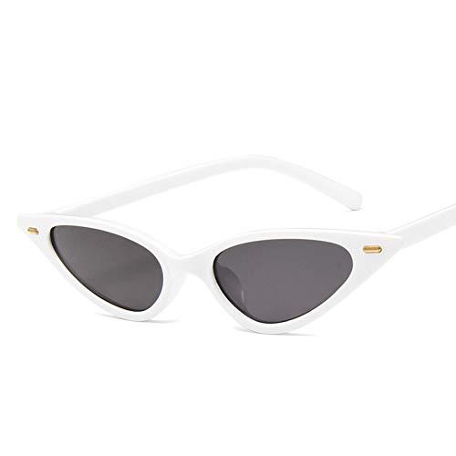GJYANJING Sonnenbrille Frauen Sexy Cat Eye Sonnenbrille Marke Designer Kleine Dreieck Vintage Sonnenbrille Retro Cat Eye Brillen Lila Schwarz Sunglass