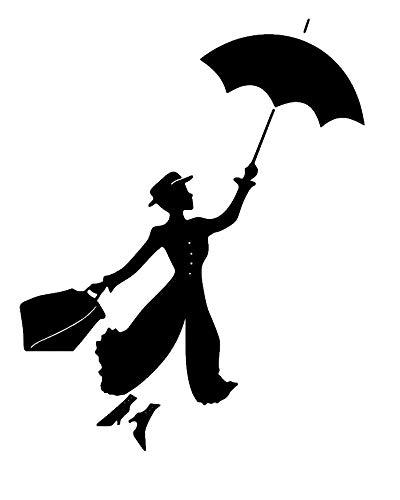 Mary Poppins mit Regenschirm Wandtattoo Wohnzimmer Zuhause Moderne Aufkleber Dekoration Dekor Stilvoll Abziehbilder Kunst