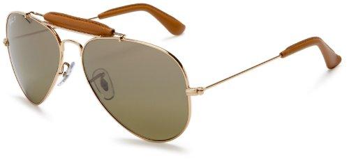 Ray Ban Unisex Sonnenbrille Outdoorsman Craft Gestell: Gold, Gläser: Polarized Grün Klassisch 001/M9), Large (Herstellergröße: 58)
