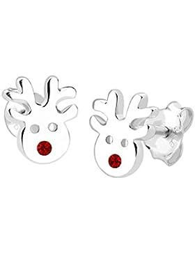Elli Damen-Ohrstecker Rentier Weihnachten 925 Sterling Silber mit Kristallen von Swarovski rot 0311560113