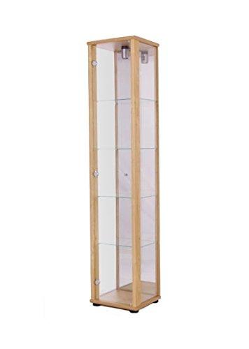 K-Möbel Glasvitrine Sammlervitrine Vitrine Beleuchtung Buche mit Spiegel