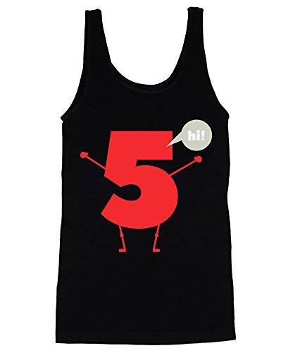 High Five Number Five Saying Hi Joke Men's Männer Tank Top Shirt Extra Large (Neck Tank Hi)