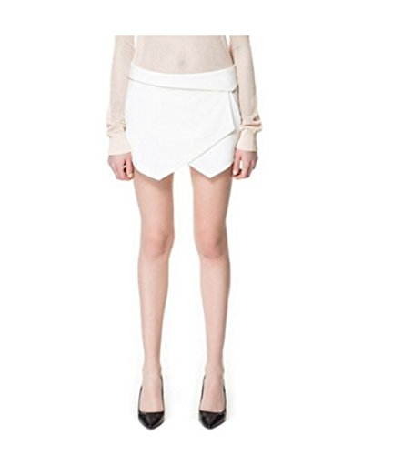984e379019a7 Qingsun Damen Kurze Hose, Mini Kurz Rock Culottes Hosenrock,Lässig,  unregelmäßige Culottes Weiß Lässig