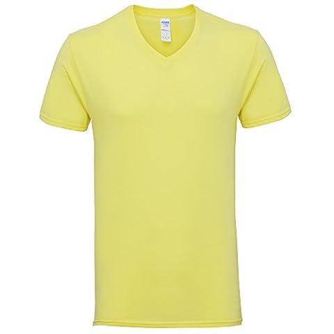 Gildan Mens Premium Cotton V Neck Short Sleeve T-Shirt (M) (Cornsilk)