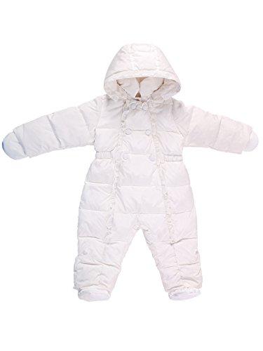 Oceankids Bianca Tuta da neve invernale monopezzo con imbottitura in piuma d'oca e cappuccio rimuovibile, da bambina 6-9 Mesi