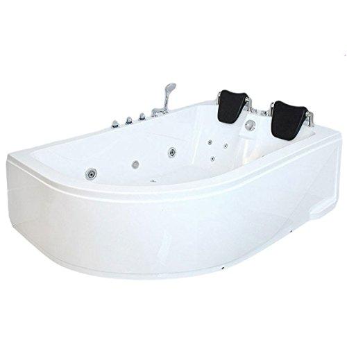 supply24 XXL Luxus Whirlpool Badewanne Bali RECHTS mit 14 Massage Düsen + Armaturen Wanne mit Kopfstützen Hot Tub Spa indoor/innen für 2 Personen für rechte Eckmontage