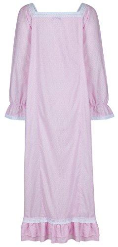 perThe 1 for U 100% cotone lunghezza intera camicia da notte - Martha - s-xxxxl Farfalla rosa