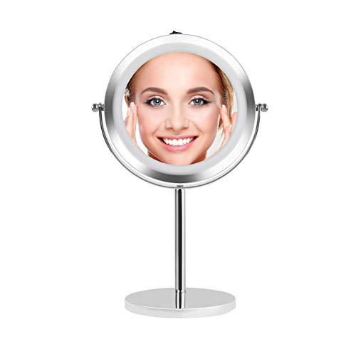 MayTree® Kosmetikspiegel mit LED rund | 17 cm Durchmesser | 5-Fach Vergrößerung | Schminkspiegel beleuchtet | Tischspiegel -
