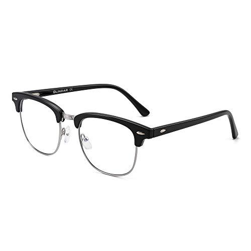 GLINDAR Blaues Licht Blockieren Computer Brillen Retro Semi-Randlos Stil Reduzieren Auge Belastung Video Spiel Gläser Damen Herren Schwarz