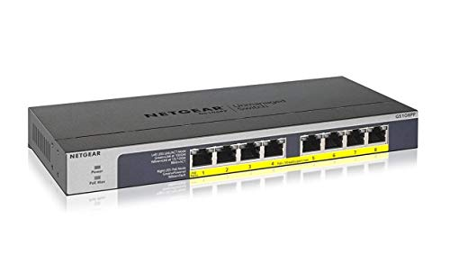 NETGEAR GS108PP 8 Port Gigabit Ethernet Unmanaged PoE Switch (mit 8x PoE+ und 123W Upgradeable, Desktop/Rackmount, ProSAFE Lifetime Protection)