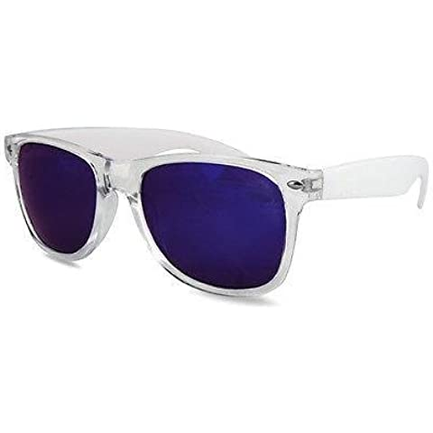 Ultra® claros marco azul lentes estilo Wayfarer de forma clásica adultos lente acrílico Unisex reflexiva de ligero gafas de sol UV400